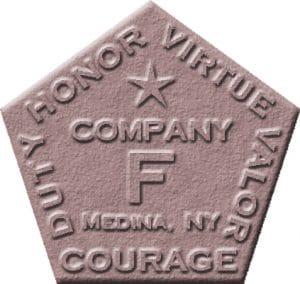 Company F logo: Honor, Virtue, Valor, Courage & Duty