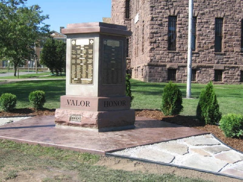 The Company F Monument built of Medina Sandstone was erected in 2008 to honor the courageous soldiers who trained at the Medina Armory 1898-1977.