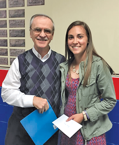 2016 Scholarship Recipient, Allison Bensley with MSS President Jim Hancock