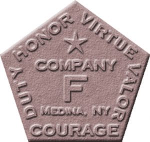 Company F logo: Honor, Virtue, Valor, Courage & Duty