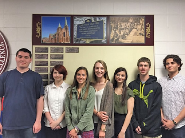 2016 John Ryan Society students at Medina High School are (l-r) Zachary Harris, Alyssa Shortridge, Allison Bensley, Amanda Lunden, Caitlyn Davies, Gregory Husung and Tyler Waldriff.
